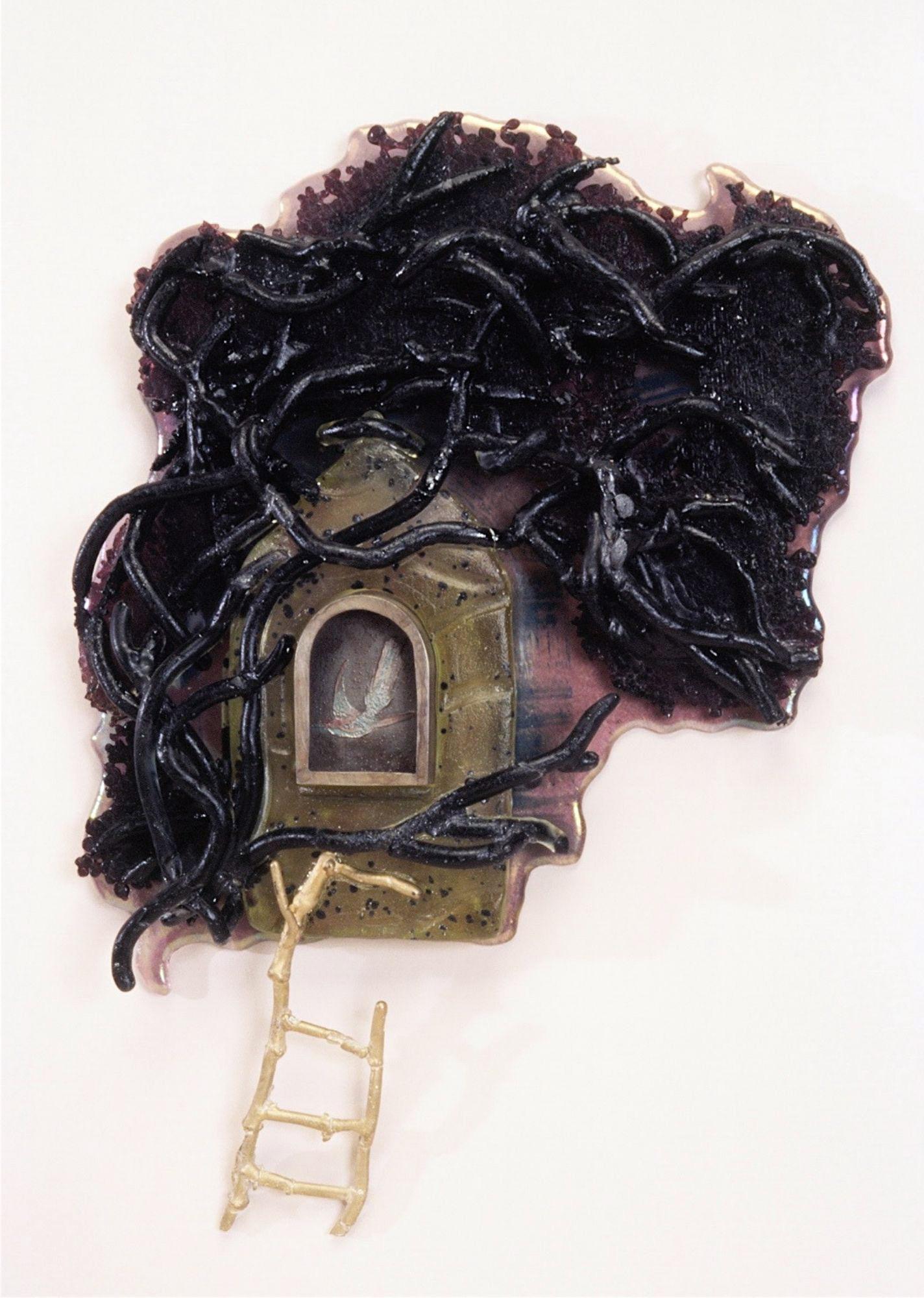 judeglass bird's nest reliquary cast glass art