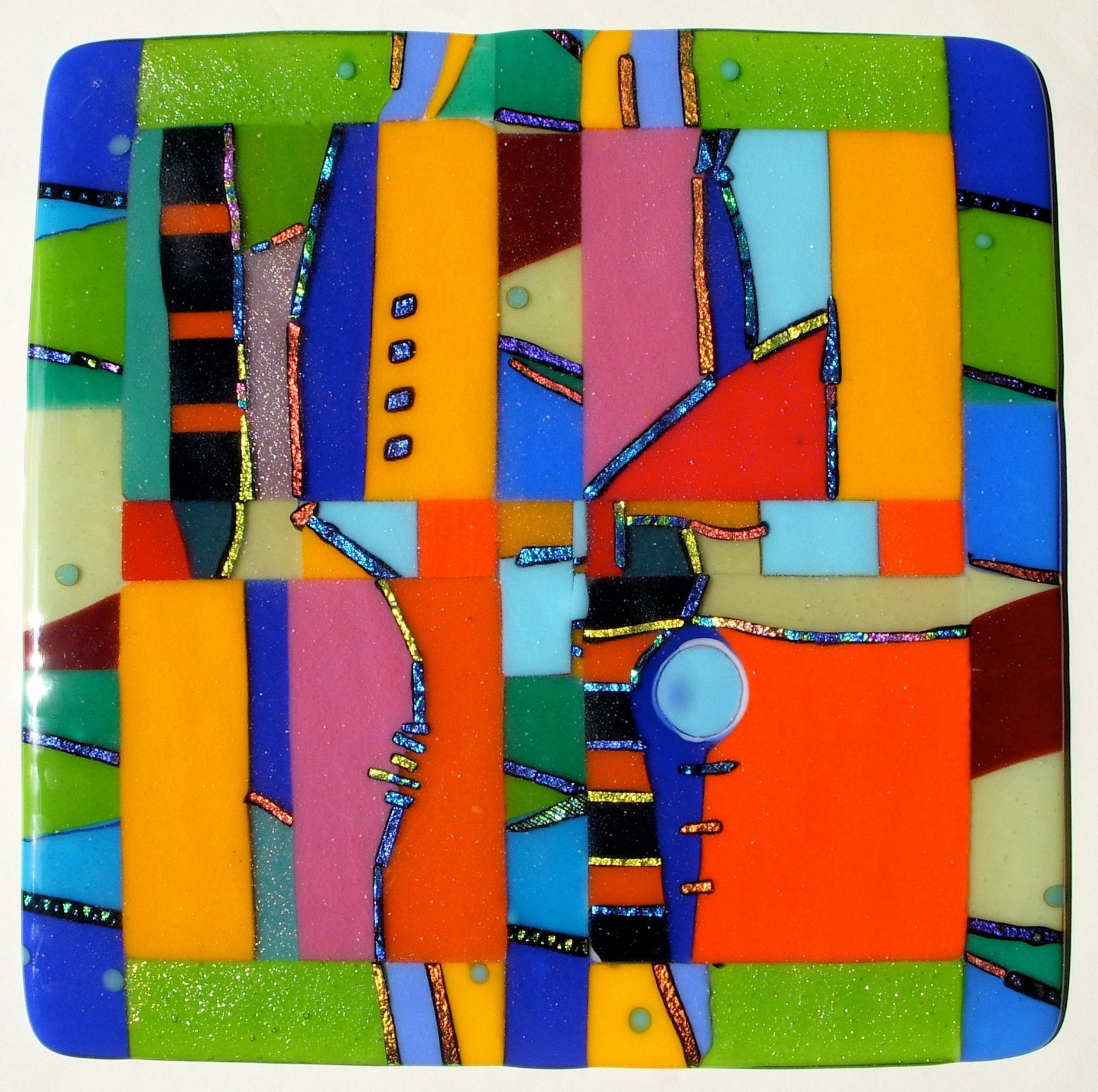 judeglass wall piece cast fused glass art colorful